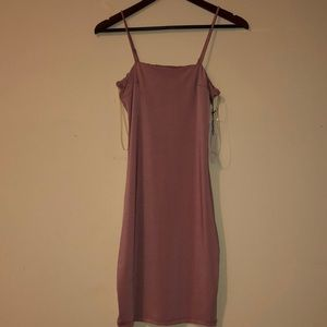 satin light pink bodycon dress with thin straps